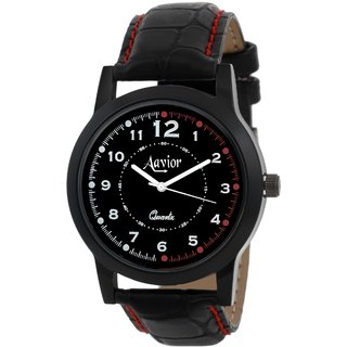 Specter Black Casual Analog Quartz Men's Watch With Round Dial & Leather Strap (DDC13)