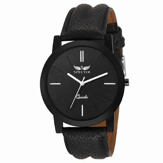 Specter Black Casual Analog Quartz Men's Watch With Round Dial & Leather Strap (KT2)