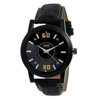 Specter Black Round Dial Black Leather Strap Analog Watch For Men (KT 4)