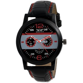 Specter Black Casual Analog Quartz Men's Watch With Round Dial & Leather Strap (KT6)