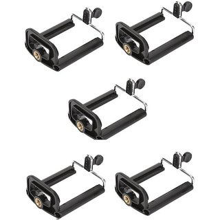 American Sia 5PC Clip Bracket Stand Holder Mount For Cell Phone Camera Monopod Tripod Kit (Black Supports Up to 500 g