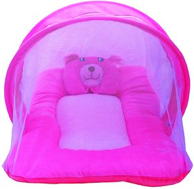 Nagar international baby mosquito protection net cum baby bedding set Nt20 pink new born to 5 months Baby