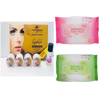 Aroma Herbal Gold Facial Kit 100g With FREE Rose Water Inside Pack + 2 N G Facial Wipes Packs Contains 25 Wipes Each