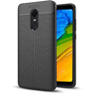 Hupshy Redmi Note 5 Cover / Redmi Note 5 Soft Silicone TPU Flexible Leather Taxture Back Cover / Redmi Note 5 Back Case - Black
