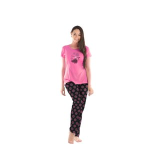 Lenissa Presents Women's Cotton nightsuits Superior  Comfortable Pyjama Set with Pink Autom Print