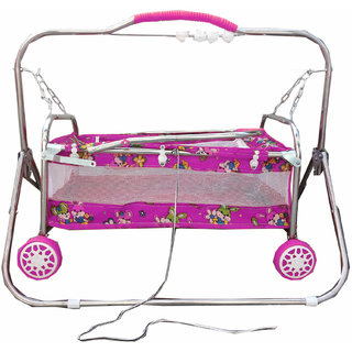 Oh Baby Baby Pink Steel Pipe Bassinets And Cradles(Jhulla Baggi And Palna Baggi) With Mosquito Net For Your Kids Se-Jp-2