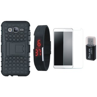 Redmi Y1 Lite Shockproof Kick Stand Defender Back Cover with Memory Card Reader, Free Digital LED Watch and Tempered Glass