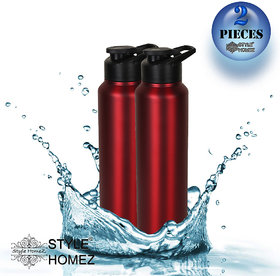 Style Homez Stainless Steel Water Bottle 1000 ml Gym Sipper Red Color - BPA Free, Food Grade Quality (Set of 2)