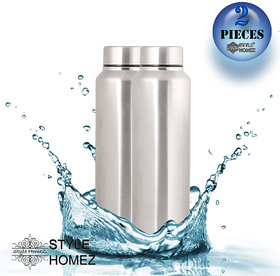 Style Homez Stainless Steel Fridge Water Bottle 1000 ml, Silver Chrome  Color - BPA Free, Food Grade Quality (Set of 2)