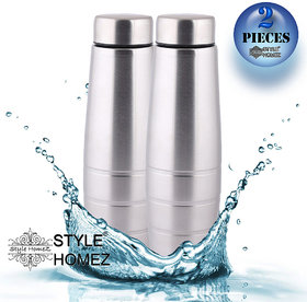 Style Homez Stainless Steel Fridge Curve Water Bottle 1000 ml, Silver Chrome  Color - BPA Free, Food Grade Quality (Set of 2)