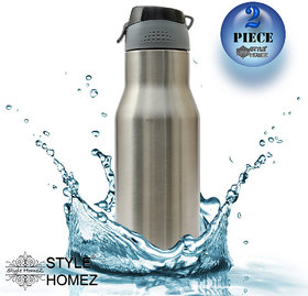 Style Homez Stainless Steel Water Sports Bottle 750 ml Gym Sipper Silver Chrome Color - BPA Free, Food Grade Quality (Set of 2)
