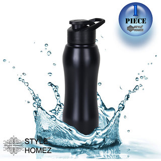 Style Homez Stainless Steel Water Bottle 750 ml Gym Sipper Black Color - BPA Free, Food Grade Quality