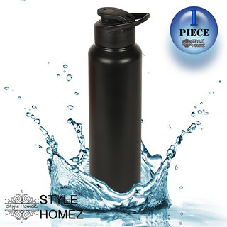 Style Homez Stainless Steel Water Bottle 1000 ml Gym Sipper Black Color - BPA Free, Food Grade Quality
