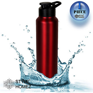 Style Homez Stainless Steel Water Bottle 1000 ml Gym Sipper Red Color - BPA Free, Food Grade Quality