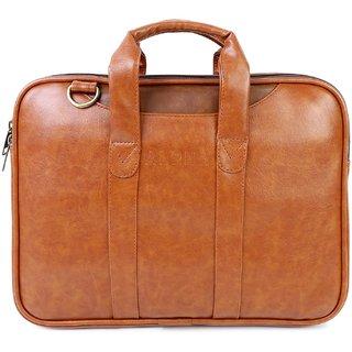 Alpha Trends 9 Ltr Genuine Vegan Leather Tan Laptop Messenger Bag/Laptop Briefcase