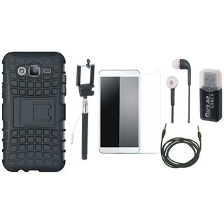 Redmi Y1 Lite Shockproof Kick Stand Defender Back Cover with Memory Card Reader, Free Selfie Stick, Tempered Glass, Earphones and AUX Cable