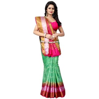 LOTUS-2D GREEN PINK (TUSSAR  SILK SAREES) NEW BOLLYWOOD-INDIAN-DESIGNER-PARTY-WEAR-ETHNIC Peria-AppareL