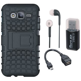 Vivo Y55 Shockproof Kick Stand Defender Back Cover with Memory Card Reader, Earphones and OTG Cable