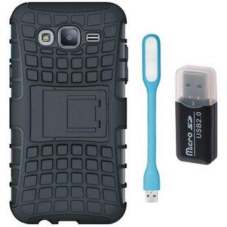 Vivo Y55 Shockproof Kick Stand Defender Back Cover with Memory Card Reader, USB LED Light