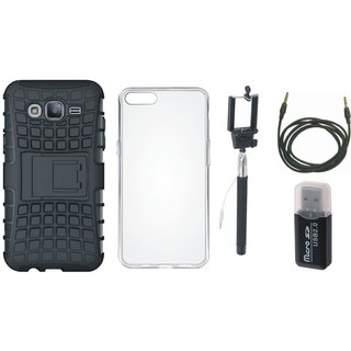 Vivo Y55 Defender Tough Armour Shockproof Cover with Memory Card Reader, Silicon Back Cover, Selfie Stick and AUX Cable