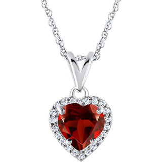 Silver Dew Jewelry 925 pure Sterling Silver CZ Diamond Red Garnet Halo Heart Pendant For Women,s  Girls