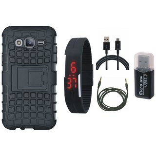 Samsung C7 Pro Defender Tough Hybrid Shockproof Cover with Memory Card Reader, Digital Watch, USB Cable and AUX Cable