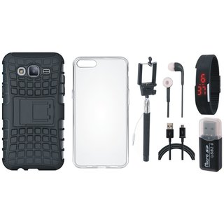 Vivo Y55 Defender Back Cover with Kick Stand with Memory Card Reader, Silicon Back Cover, Selfie Stick, Digtal Watch, Earphones and USB Cable