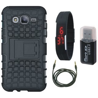 Samsung C7 Pro Defender Tough Hybrid Shockproof Cover with Memory Card Reader, Digital Watch and AUX Cable