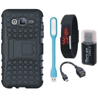 Samsung C7 Pro Defender Tough Hybrid Shockproof Cover with Memory Card Reader, Digital Watch, OTG Cable and USB LED Light