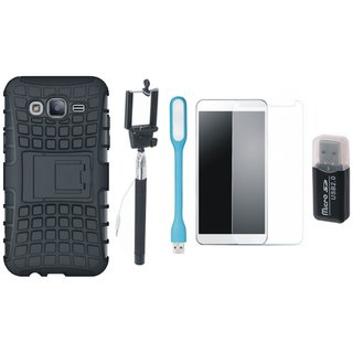 Samsung C7 Pro Defender Tough Hybrid Shockproof Cover with Memory Card Reader, Free Selfie Stick, Tempered Glass, and LED Light