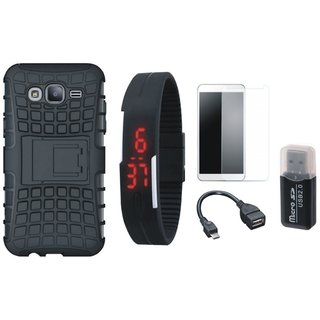 Samsung C7 Pro Defender Tough Hybrid Shockproof Cover with Memory Card Reader, Free Digital LED Watch, Tempered Glass and OTG Cable