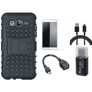 Samsung C7 Pro Defender Tough Hybrid Shockproof Cover with Memory Card Reader, Tempered Glass, OTG Cable and USB Cable