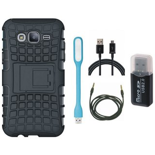 Samsung C7 Pro Defender Tough Hybrid Shockproof Cover with Memory Card Reader, USB LED Light, USB Cable and AUX Cable