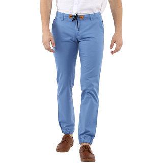 Urbano Fashion Men's Light Blue Slim Fit Stretch Casual Chino Joggers