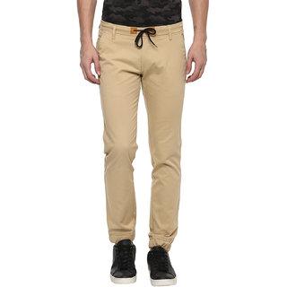 Urbano Fashion Men's Beige Slim Fit Stretch Casual Chino Joggers (Size : 28)
