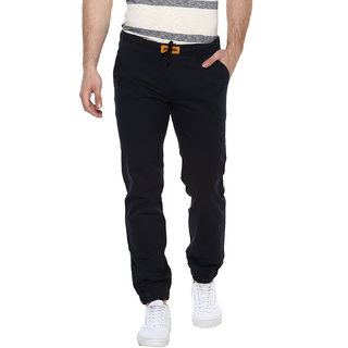 Urbano Fashion Men's Navy Slim Fit Stretch Casual Chino Joggers (Size : 28)
