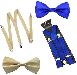 Sunshopping unisex cream and royal blue stretchable suspender with bow (combo)
