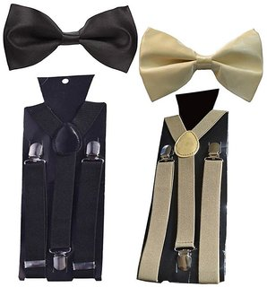 Sunshopping unisex black and cream stretchable suspender with bow (combo)