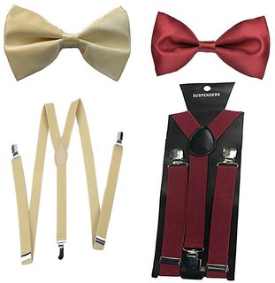 Sunshopping unisex cream and maroon stretchable suspender with bow (combo)