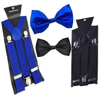 Buy Sunshopping unisex royal blue and black stretchable suspender with bow  (combo) Online - Get 51% Off 15b33a78a