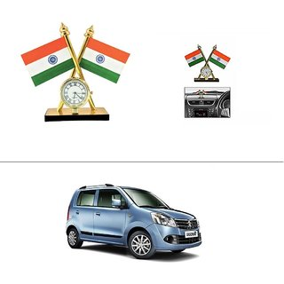 AutoStark Car Dashboard Indian Flag With Clock For Maruti Suzuki Wagon R 1.0