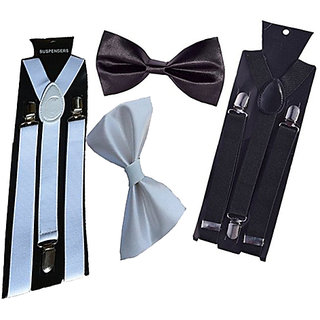 Buy Sunshopping unisex white and black stretchable suspender with bow  (combo) Online - Get 51% Off c8b6f29cc
