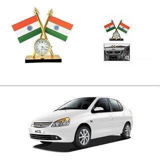 AutoStark Car Dashboard Indian Flag With Clock For Tata Indigo Cs