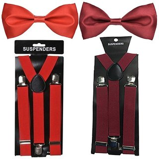 Buy Sunshopping unisex red and maroon stretchable suspender with bow ... 713e02c09