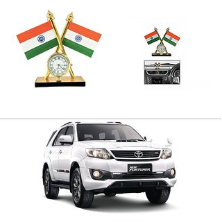AutoStark Car Dashboard Indian Flag With Clock For Toyota Fortuner 2015