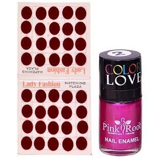 Pink Root Nail Polish No. 02 (15ml) Lady Fashion Mahroon No. 10 Bindi