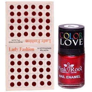 Pink Root Nail Polish No. 01 (15ml) Lady Fashion Mahroon No. 11 Bindi