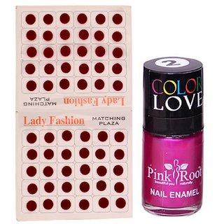 Pink Root Nail Polish No. 02 (15ml) Lady Fashion Mahroon No. 11 Bindi