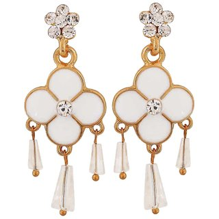 Maayra Enamel Flower Earrings White Dangler Drop College Fashion Earrings