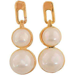 Maayra Pearl Earrings White Dangler Drop Office Casualwear Earrings
